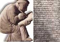 مجسمه پروکوپیوس و صفحه ای از تاریخ محرمانه او