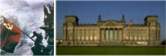 ساختمان رايشستاگ (پارلمان همه آلمان )كه در1871 استفاده از آن آغاز شد و در جريان جنگ جهاني دوم به ويرانه تبديل گرديده بود. عكس ديگر يك سرباز ارتش سرخ را هنگام برافراشتن پرچم شوروي بر فراز رايشستاگ بمباران شده و ويران نشان مي دهد. ارتش سرخ بود كه برلن را تصرف كرد.