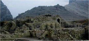 بقاياي كاخ شاپور يكم در شهر بيشاپور فارس